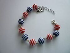 Silver Tone Bracelet 4th Of July Red/White/Blue Striped USA 7inch with 2inch ext