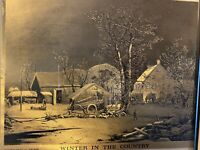"CURRIER & IVES ""Winter in the Country"" Vintage Offset Lithograph on Gold Foil"