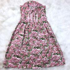 Handmade Vintage Floral Girls Dress Size 6 - 7 Tie Back Green Pink