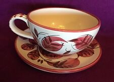 Soup Cup Bowl with Under plate Italy E 9201 Vintage Ceramic white pink Large