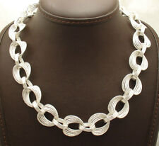 """GORGEOUS 18"""" Bold Diamond Cut Oval Link Chain Necklace Real Sterling Silver 925"""
