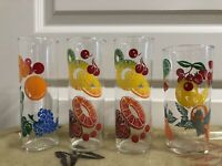 Vintage Fruit Cocktail Drinking Glasses 50s 60s Decor