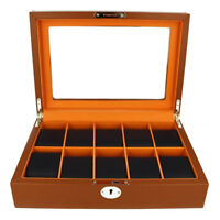 Premium Watch Box For Men Brown and Navy Blue Fits 10 Watches RRP £90