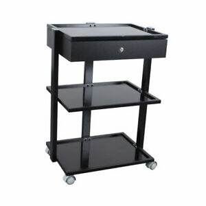 Luxury Glass Trolley - With Drawer - Black