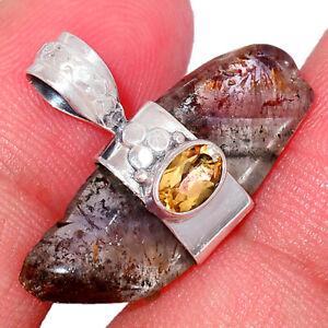 Super 7, Cacoxenite Slice & Citrine 925 Silver Pendant BP72274 240H