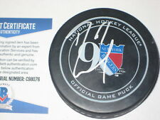 RICK NASH Signed RANGERS 90th Anniversary Official GAME Puck w/ Beckett COA