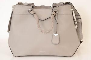 Michael Kors Blakely gray leather woven zip trim tote handbag purse NEW $598