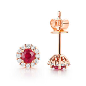 0.54CT Round 3.3mm Ruby Diamond Solid 14K Rose Gold Beauty Wedding Earrings Gift