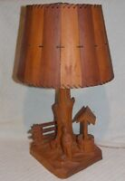 Vintage Working Folk Art Table Lamp Woodcarving engraved by artist Paul E. Caron