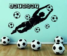Personalised Name Goalkeeper Football Player Balls Wall Stickers Decals Vinyl