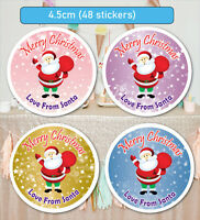 48 Christmas Party Stickers Sweet cone Label Santa present Personalised MATT