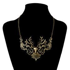 Antique Bronze Stag Deer Antler Head Bib Collar Necklace Chain Xmas Wedding