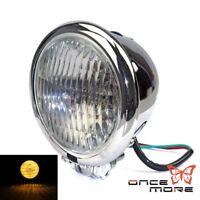 4.5'' H4 Chrome Bates Style Headlight Headlamp For Bobber Chopper Harley Custom