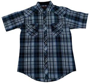 Western Plaid Shirt, short sleeve, White with blue, Size Medium, Plains Cowboy