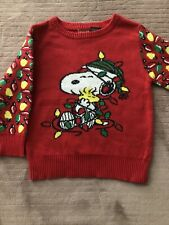 Peanuts Snoopy Baby Toddler Unisex Boys/Girls Ugly Christmas Sweater 12M Red