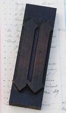 "letter: u  rare blackletter wood type printing block 5.71"" woodtype letterpress"