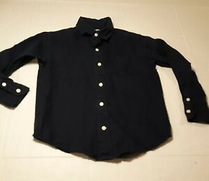 Janie and Jack Boys 100% Linen Long Sleeve Button-Down Shirt Navy Blue  Size 5