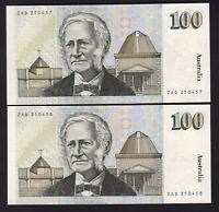Australia R-608. (1984) Johnston/Stone - 100 Dollars..  UNC - CONSECUTIVE Pair