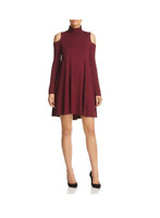 Robert Michaels Womens Wine Red Cold Shoulder Turtleneck Shirt Dress Size XS