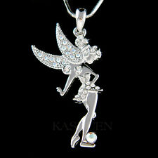 w Swarovski Crystal Fairy Tinker Bell TINKERBELL Angel Wing Pendant Necklace NEW