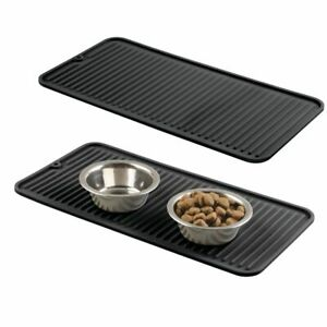 mDesign Silicone Pet Food/Water Bowl Feeding Mat for Dogs, Small, 2 Pack - Black