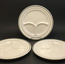"3 Vintage Buffalo China Green Stripes 9½"" Divided Plates Restaurant Ware"
