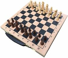 BOXED WOODEN CHESS BOARD AND PIECES - FOLD-ABLE TO STORE THE PIECES