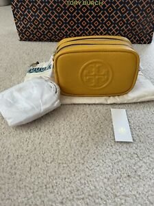 NWT Tory Burch Perry Bombe Mini Leather Crossbody Bag In Daylily Yellow