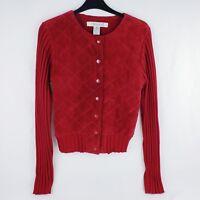 Women's John Paul Richard Uniform Leather Sweater Jacket Christmas Red Size M