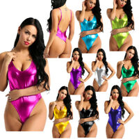 Womens Wet Look Shiny Leather Leotard Bodysuit Backless Thong Swimsuit Romper