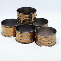 Set of 6 Vintage Brass Stripe Napkin Rings Beaded Rim 1-5/8 x 1 inch
