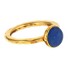 Handmade 24k Yellow Gold Plated Blue Howlite Hammered Stackable Ring Sizes 6 & 7