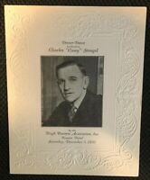 """CASEY STENGEL VERY RARE ORIG. 1936 """"CASEY STENGEL TRIBUTE DINNER-DANCE"""" PROGRAM!"""