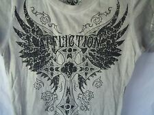 Affliction Live Fast Bedazzled Cross Angel Wings Braided Sleeves Womens T Shirt