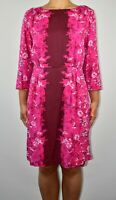 Boden Floral Pink Aline Dress Holiday Summer Office Smart Casual Silk Size 14 AR