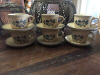 Vintage1980's Pfaltzgraff Folk Art Coffee/Tea Cups & Saucers Set of 6 ~ USA