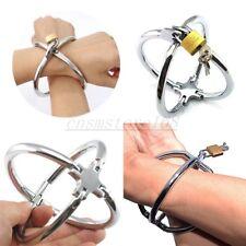 Roleplay Steel Cross Handcuffs Lockable Wrist Restraints Shackle Slave Cuffs SM