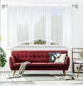 Moderne Fertiggardine aus Voile Vorhänge mit Plauner Spitze Gipüre B400cm H150cm