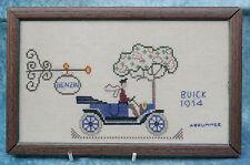 1914 Buick Motor Car Cross Stitch & Esmaltado foto Enmarcada Firmado un Brummer