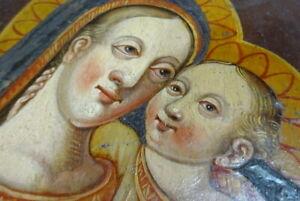 Circa 17th C Virgin & Child Oil Painting German School Old Master Gothic Script