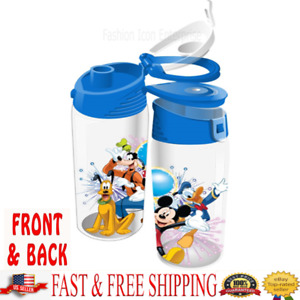 Disney Water Bottle Mickey Minnie Goofy Donald Pluto Flip Top Bottle Original