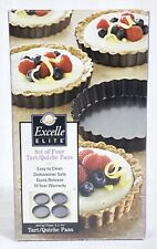 """4 WILTON Excelle Elite 4"""" x 3/4"""" Round Tart/Quiche Pans In Open Box Never Used"""