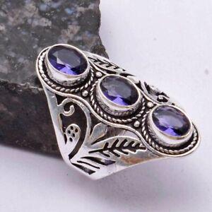 Amethyst Ethnic Handmade Ring Jewelry US Size-8.5 AR 40737