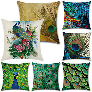 Peacocks Feather Pattern Cushion Square Pillow Case Sofa Cover Garden Home Decor