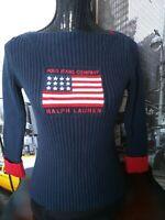 VTG. Ralph Lauren polo jeans America Flag Iconic Sweater Navy blue Womens M New