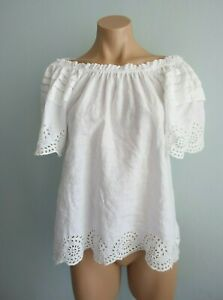 Collette by Collette Dinnigan Broderie Anglaise Trim White Linen Boho Top sz S