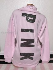 Victoria's Secret Pink Light Pink Pewter Sequin Bling Lace Up Quarter Zip -Small