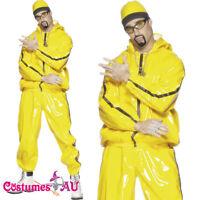 Mens Ali G Rapper Suit 1980s Costume Yellow Tracksuit 80s Hip Hop Fancy Dress