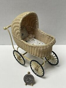 Vintage Artisan PATERSON '89 Baby Stroller Pram Rolls Dollhouse Miniature 1:12