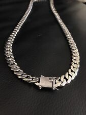 "Men's 12mm Cuban Link 30"" Solid 925 Sterling Silver Chain W. Diamond Clasp"